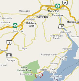 Map of roads leading to Alma and Fundy